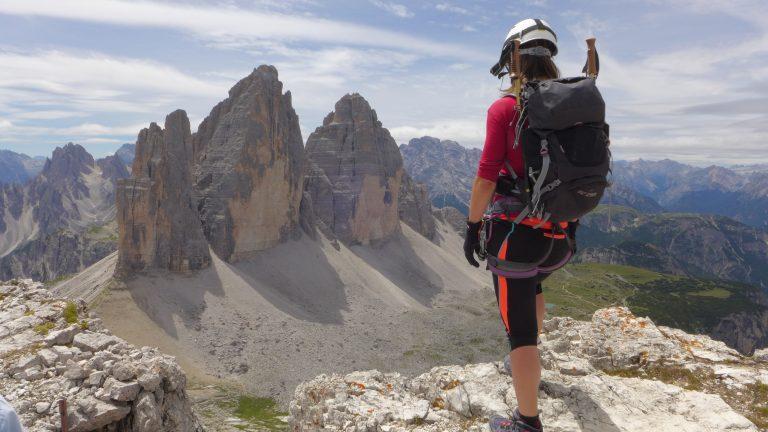 Ferrata Monte Paterno con vistas a las Tres Cimas de Lavadero